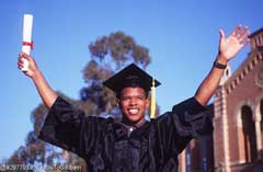A man in graduation gown; Actual size=240 pixels wide